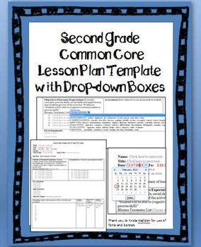 grade common core lesson plan template  drop  boxes tpt