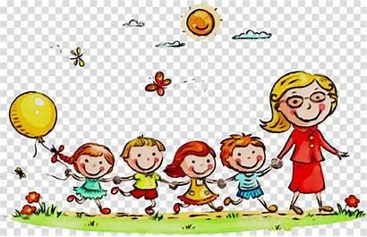 Kindergarten Clipart Cartoon Happy Routine Daily Smile
