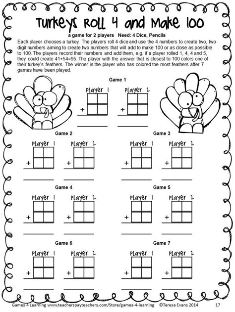 thanksgiving math third grade thanksgiving