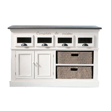comptoir de cuisine maison du monde comptoir en bois de paulownia blanc l 130 cm comptoir des