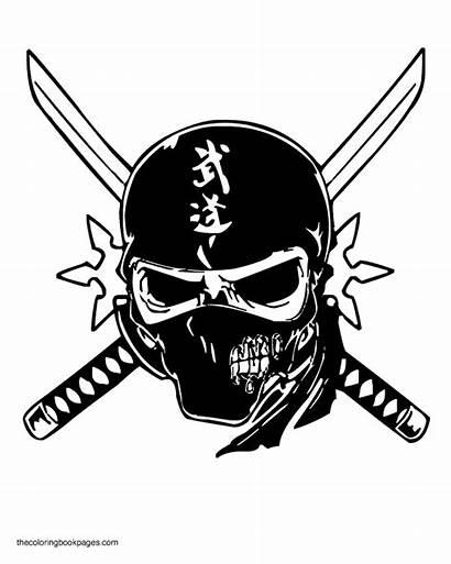Skull Coloring Pages Skulls Ninja Mask Colouring