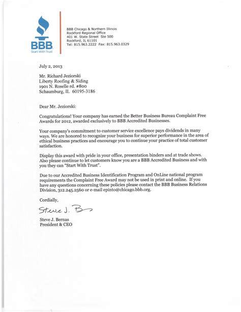 company bureau sle complaint letter to the better business bureau