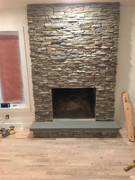 fireplace finished eldorado stone  nantucket