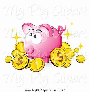 Swine Clipart of a Cute Pink Piggy Bank Surrounded by ...