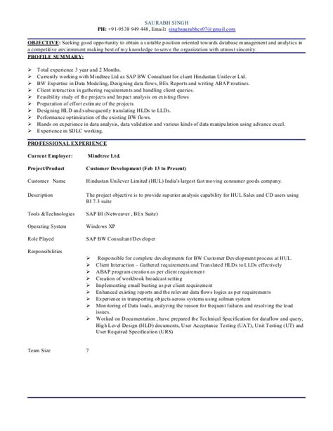resume sap bw and bw abap 3 2yrs
