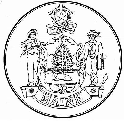 Maine State Coloring Pages Seal Symbols Flag