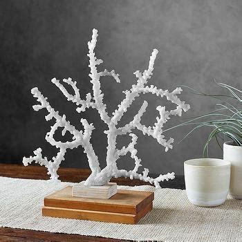 White Coral Decor - sea coral gold fan decor