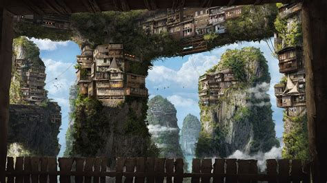 fantasy art apartments house cliff villages sky