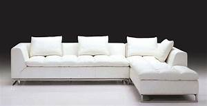 Luxurious white leather l shaped sofa with chromed metal for White leather sofas