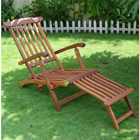 eucalyptus reclining folding steamer lounge chair