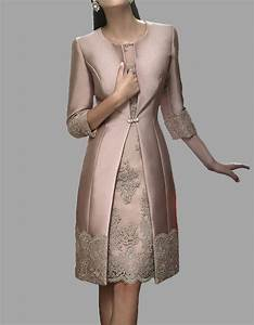 knee length mother of the bride suit outfit embroidery With dress with jacket for wedding