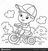 Coloring Cartoon Outline Bike Boy Riding Bicycle Depositphotos Oleon17 sketch template