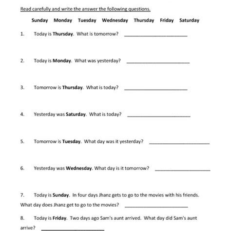 days of the week worksheets pdf days of the week