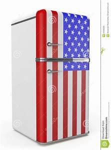 Roter Retro Kühlschrank : retro k hlschrank mit der usa flagge auf der t r stockbilder bild 31949294 ~ Markanthonyermac.com Haus und Dekorationen