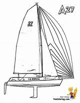 Boat Sailing Coloring Pages Catamaran Yacht Ship Boats Yescoloring Template Boys sketch template