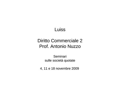diritto commerciale dispense societ 224 quotate dispense