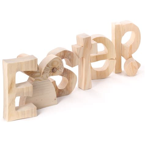 large unfinished chunky wood standing easter letters
