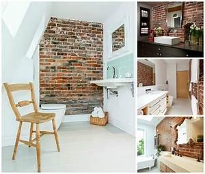 mur briques dans la salle de bain 25 idees inspirantes With finition mur salle de bain