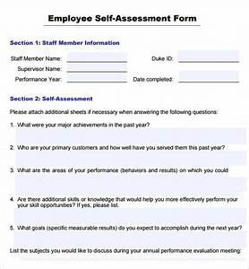 sample employee self evaluation form 16 free documents With self assessment templates employees