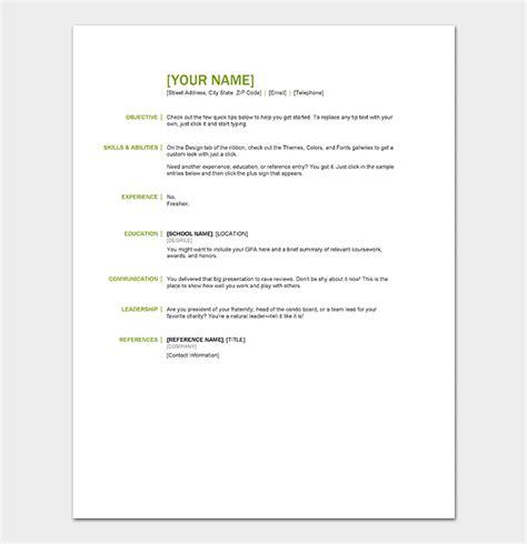 resume template  freshers  samples  word