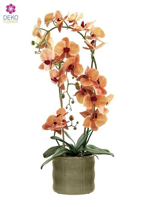 kuenstliche orchidee orange  cm im keramik topf