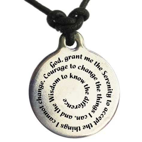Serenity Prayer Medallion Leather Necklace $20.99