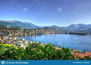 Landscape, Of, Lugano, Surrounded, By, An, Alpine, Lake, Under, The