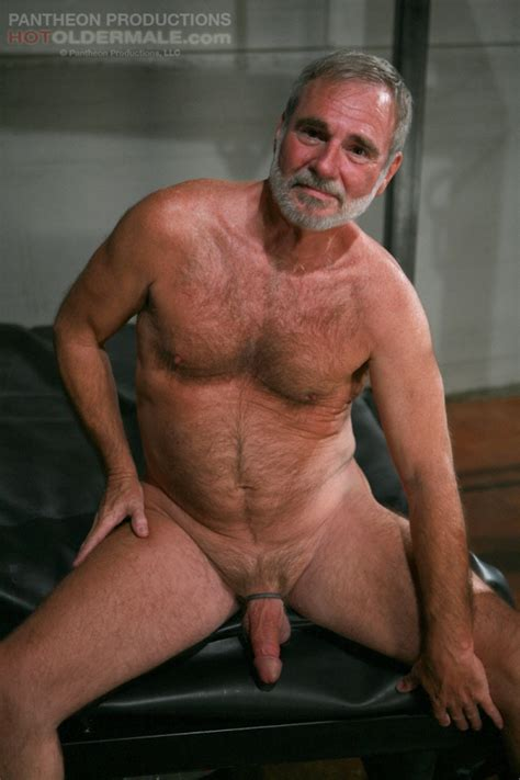 Aged Silver Hair Gay Man With A Beard And Hairy Chest Strips Nude And Gets His Dick Licked
