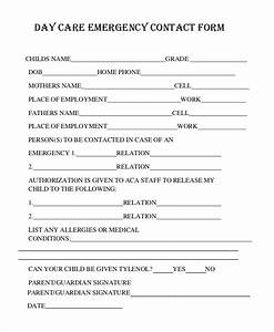 8 sample emergency contact forms sample templates With emergency contact form template for child