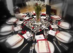 Black And Ivory Table Square Overlay Damask Wedding Table