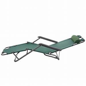 Chaise Longue Bain De Soleil : transat bain de soleil chaise longue jardin pliable vert ~ Dailycaller-alerts.com Idées de Décoration