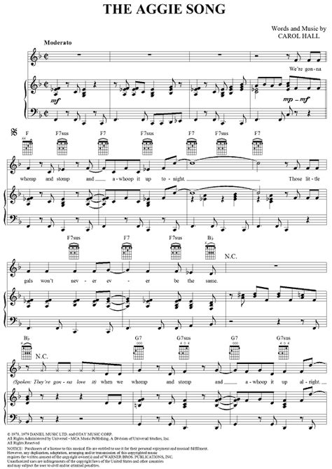 aggie song sheet    piano