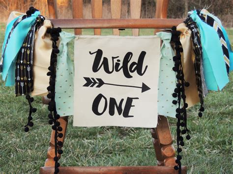 wild one birthday banner any saying any color theme turquoise