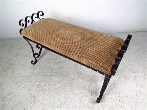 Rod Iron Benches by Black Wrought Iron Bench With Upholstered Seat At 1stdibs