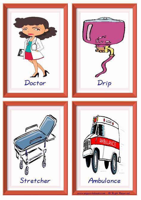 hospital esl printable english flash cards worksheets