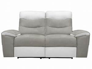 Canapé fixe relaxation électrique 2 places en tissu FOSTER coloris gris/blanc Vente de Canapé