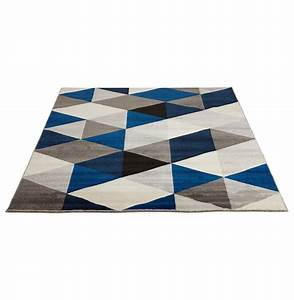 Tapis Motif Scandinave : tapis design grafik grand tapis de salon aux tons bleus ~ Teatrodelosmanantiales.com Idées de Décoration