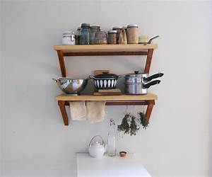 Two Tiers Wood Wall Mounted Kitchen Shelves For ...