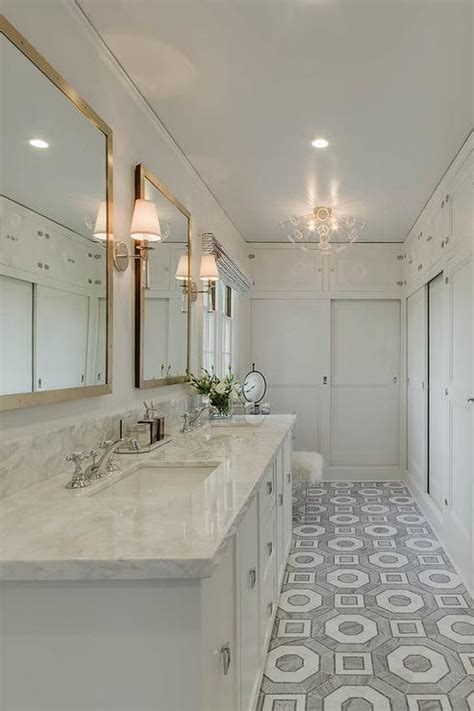 master bathroom with white and gray hexagon