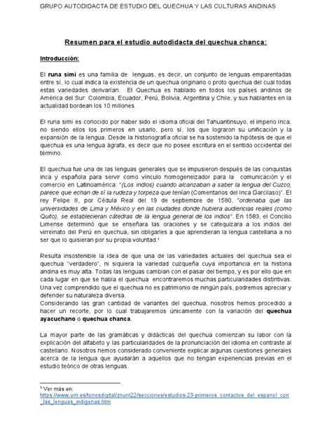 Estudio Autodidacta Del Quechua Chanca Verbo Lengua