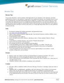 tips for a resume summary resume tips and sles