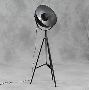 Large tripod spotlight floor lamp with silver inner shade for Tripod floor lamp silver base white shade
