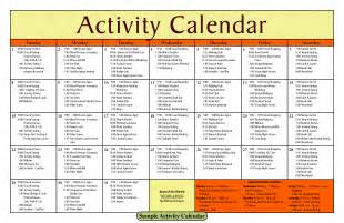 Nursing Home Activities Calendar Template
