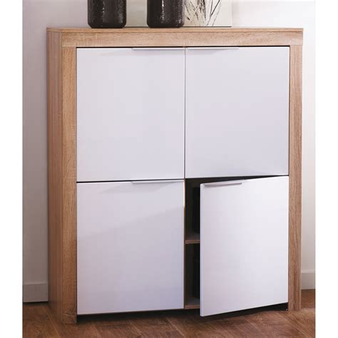 meuble cuisine profondeur 30 cm commode 4 portes blanc et bois l108 4 x h124 6 cm naxis