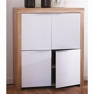 Commode Faible Profondeur : commode 4 portes blanc et bois l108 4 x h124 6 cm naxis ~ Dallasstarsshop.com Idées de Décoration