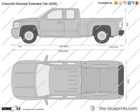 chevrolet silverado extended cab vector drawing
