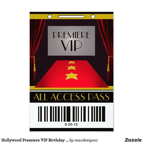 hollywood premiere vip birthday party card themed