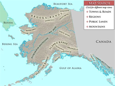 map of mountain ranges mountain ranges of alaska