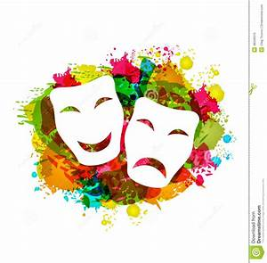 Comedy And Tragedy Simple Masks For Carnival On Colorful ...