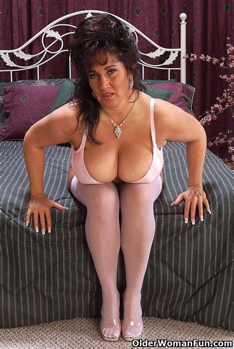 Grandma Ashley strips off her white stockings - Pichunter